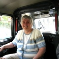 2004 London Carole sits in taxi